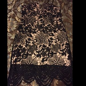 Black lace with nude underneath party dress